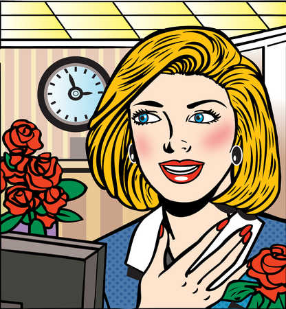 Happy businesswoman receiving flowers at workplace