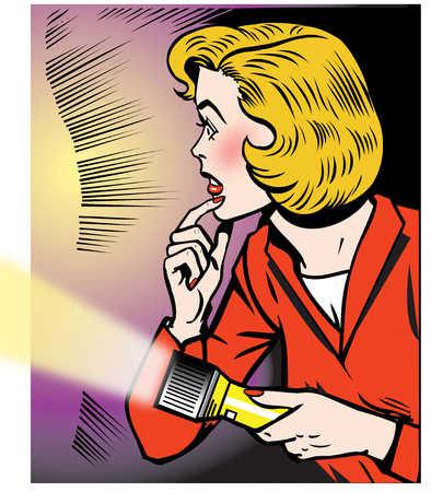 Afraid woman holding flashlight