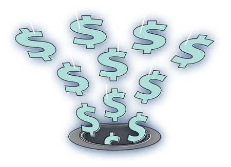 Dollar signs falling down drain