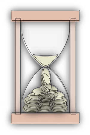 Hourglass with sand and coins