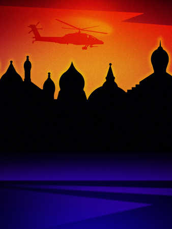 Middle Eastern cityscape with military helicopter flying above