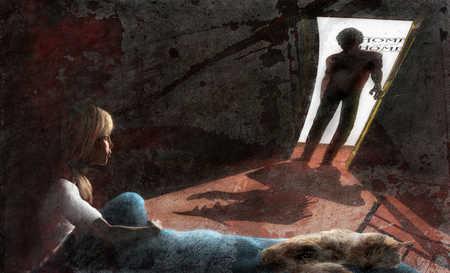 Afraid girl in bedroom with father lurking in doorway