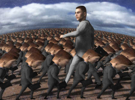 Tall businessman going against flow of large group of businessmen