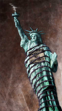 Statue of Liberty with no admittance sign