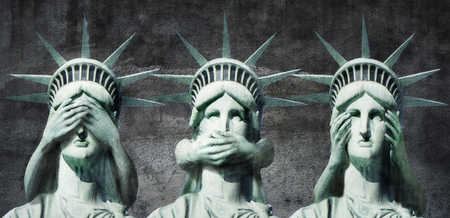 Statue of Liberty see no evil, speak no evil, hear no evil