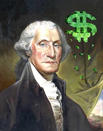 George Washington with crumbling dollar sign
