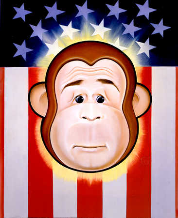 George W. Bush with monkey face and American flag