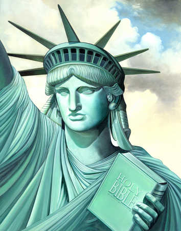 Statue of Liberty holding bible