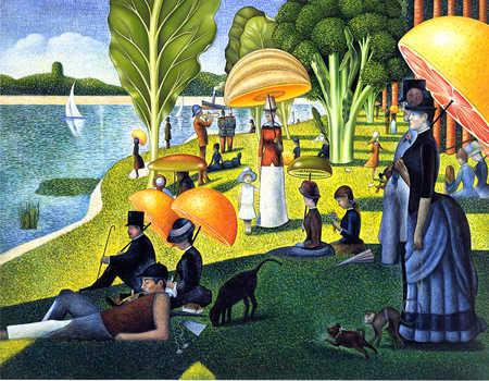 Parody of aristocrats at lake holding fruit umbrellas