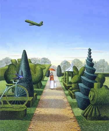 Woman and daughter in garden with transportation shaped topiary shrubs