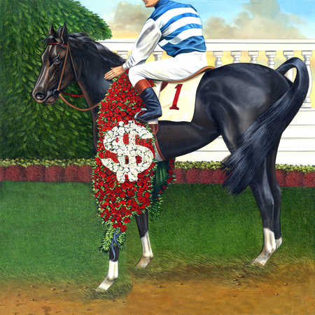 Jockey on horseback with victory bouquet and dollar sign
