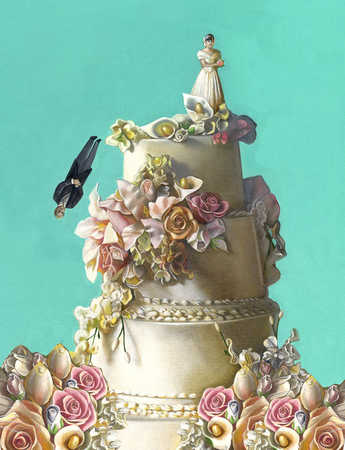 Wedding cake with groom falling
