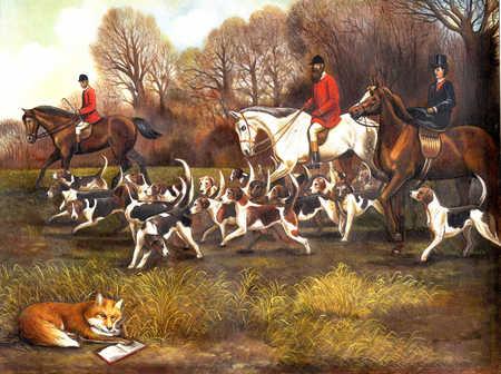 Hunters on horseback with fox reading in bush