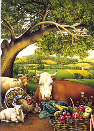 Farm animals and harvest produce with rural scene