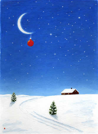 Winter scene with house and ornament hanging from moon