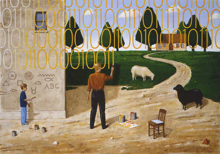 Man writing binary code in rural scene