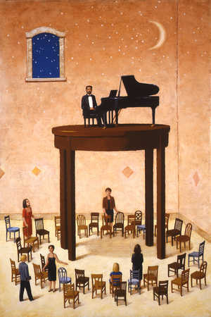 Pianist on pedestal above audience