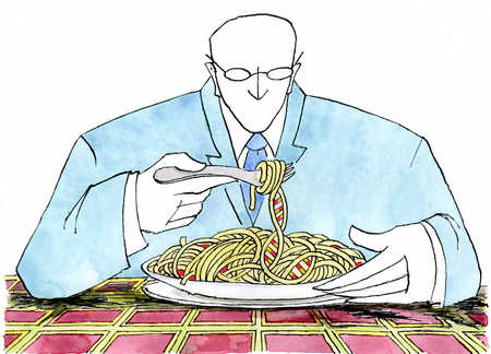 Man looking down at genetically modified noodles