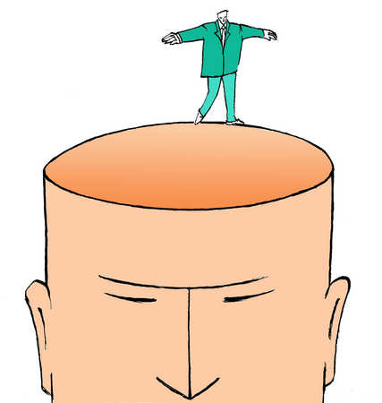 Businessman balancing on man's head