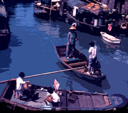 People in boats on canal