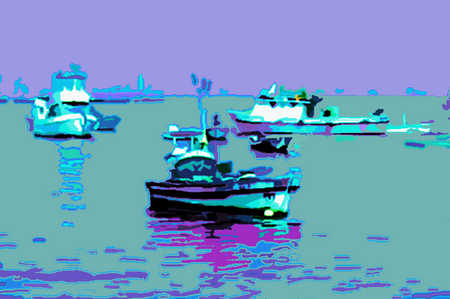 Seascape of mooring yachts and boats