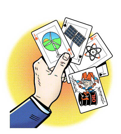 Hand holding playing cards with energy symbols and oil joker card