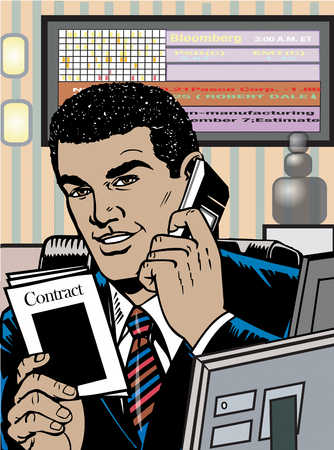Businessman on telephone in office holding contract