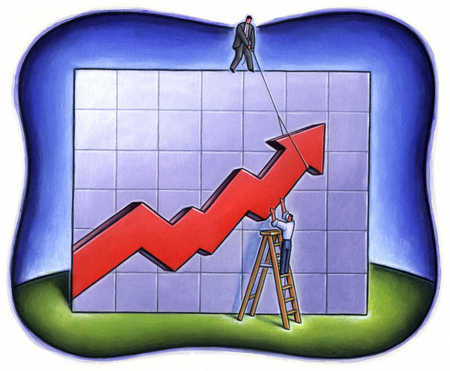 Businessmen raising arrow on line graph