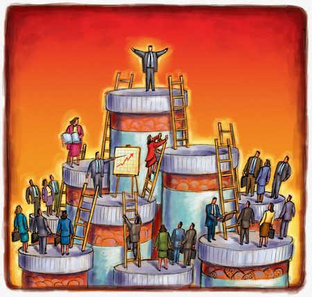 Pharmaceutical workers standing on prescription bottles