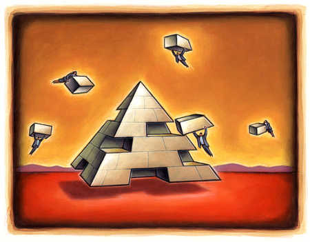 Business people flying together with pieces to form pyramid