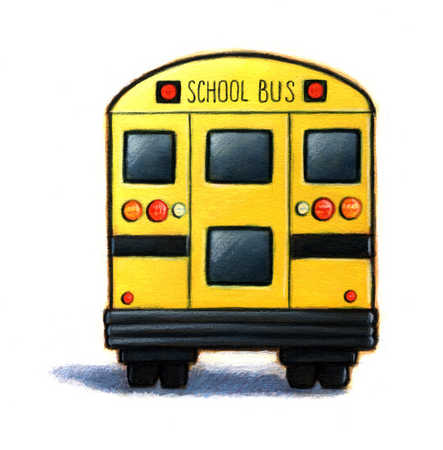 Illustration of the rear of a school bus