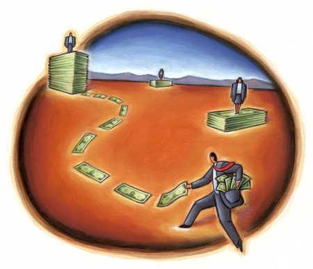 Businessman picking up money leading to pile