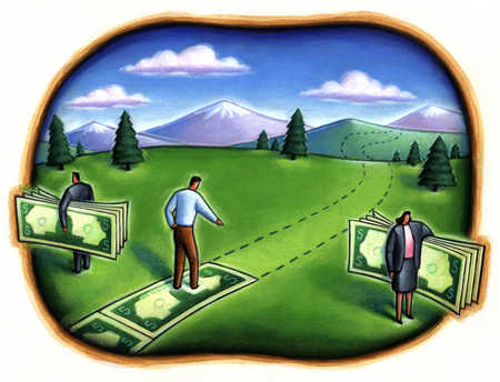 Business people taking money from businessman's path