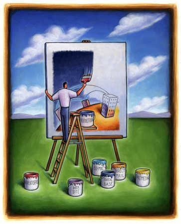 Entrepreneur painting business components