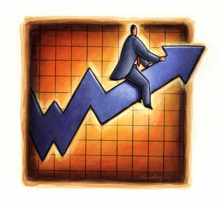 Businessman riding ascending arrow on line graph