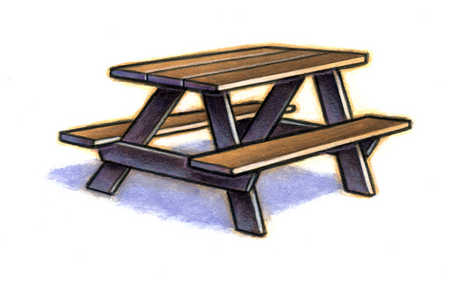 Illustration of picnic bench