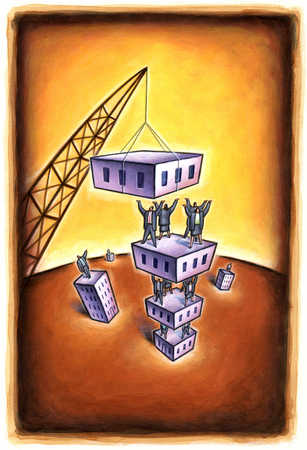 Business people standing on pile of buildings