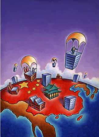 Business people on parachuted buildings descending on China