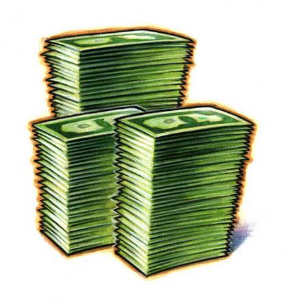 Illustration of piles of money