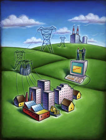 Factories and electricity towers over buildings and businessman on computer