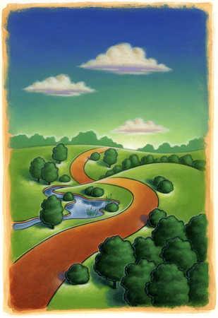Winding Path Illustration Stock Illustration - I...