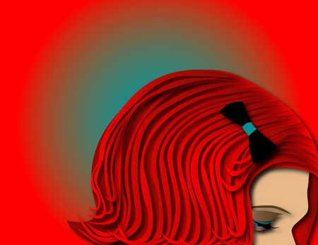 Close up of woman with red hair looking down