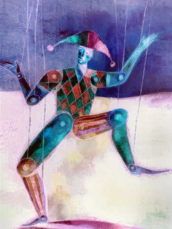 Illustration of jester with puppet strings