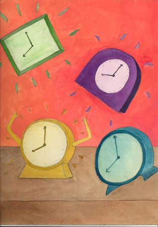 Four alarm clocks ringing