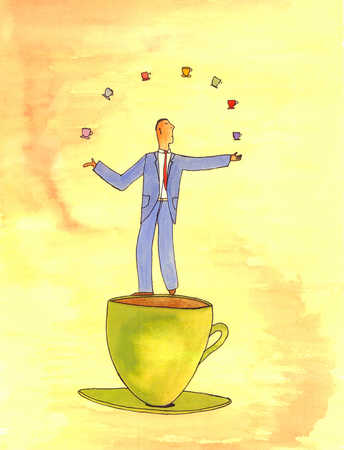 Businessman standing on large coffee cup juggling small coffee cups