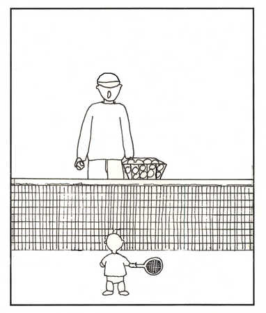 Father teaching toddler son to play tennis