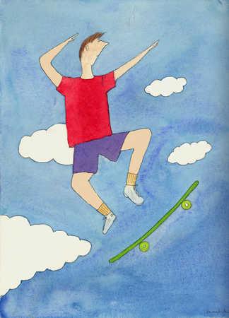 Teenage boy with skateboard in mid-air