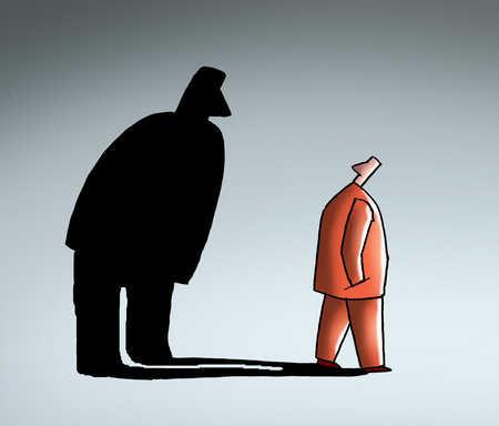 Shadow looming over businessman