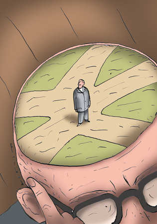 Businessman standing at crossroads in man's brain
