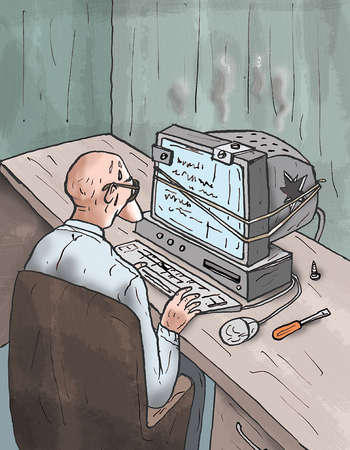 Man sitting at damaged computer